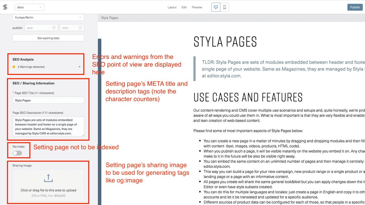 A screenshot of Styla Editor UI showing SEO-related features: setting META title, description, setting to noindex and setting a sharing image