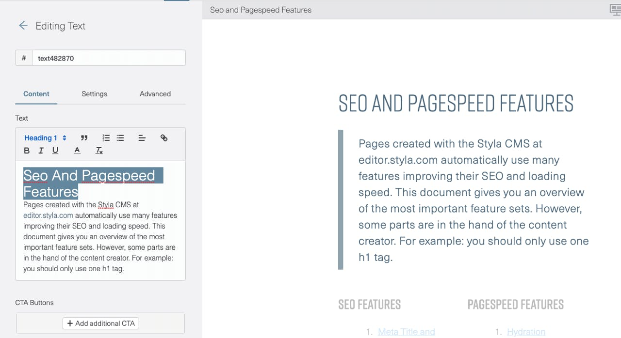 Styla Editor UI showing how you set headline tags
