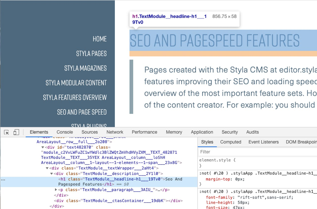 Styla front-end displaying the headline set in Editor including HTML code rendered in browser console