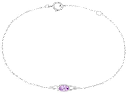 Bracelet CLEOR en Or 375/1000 Blanc et Améthyste