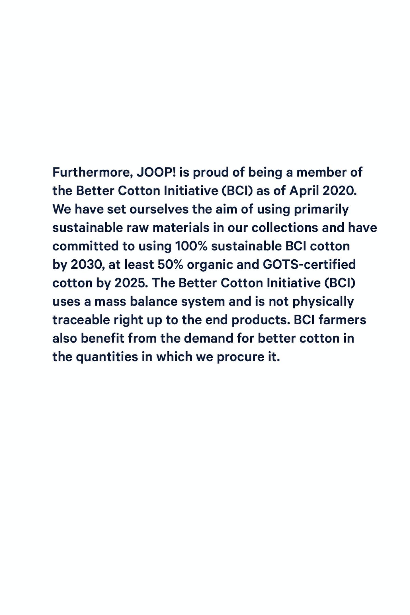 JOOP! BETTER COTTON INITIATIVE