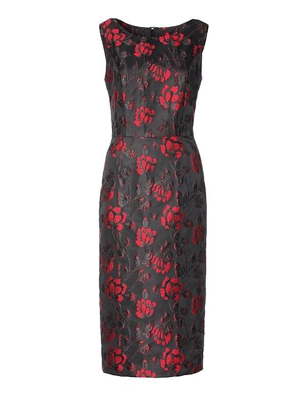 Ärmelloses Etui-Kleid aus Glanz-Jacqard