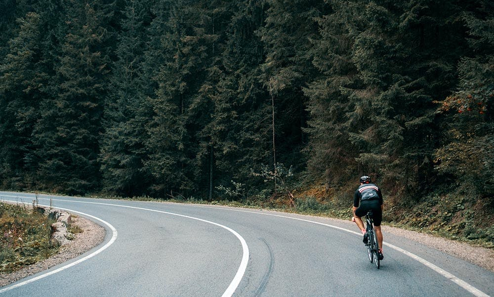 Radfahrer auf Straße im Wald