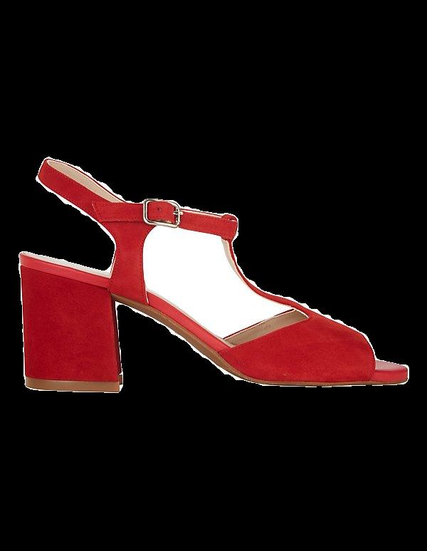 Veloursleder-Sandalette mit Blockabsatz