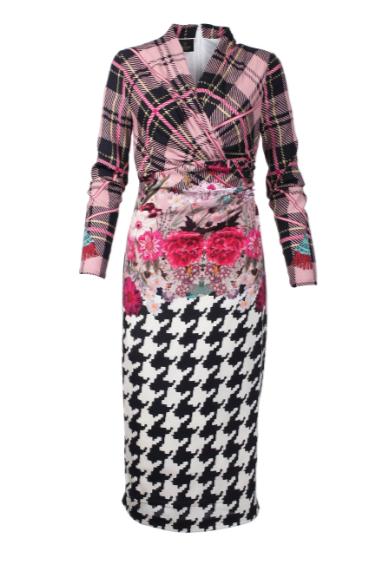 Seidenstretch-Kleid mit Print-Dessin