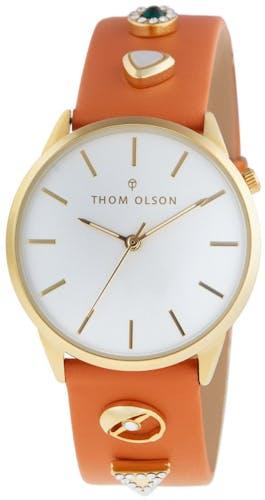 Cette montre THOM OLSON se compose d'un Boîtier Rond de 34 mm et d'un bracelet en Cuir Orange