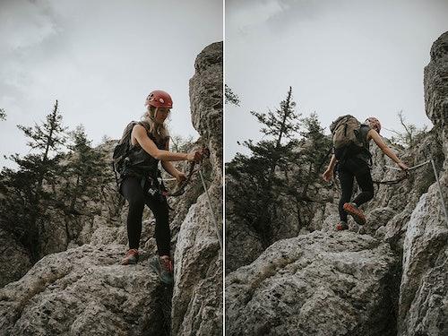 Bloggerin Sabina am Klettersteig