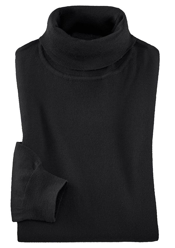 Schwarzer Pullover mit Rollkragen.
