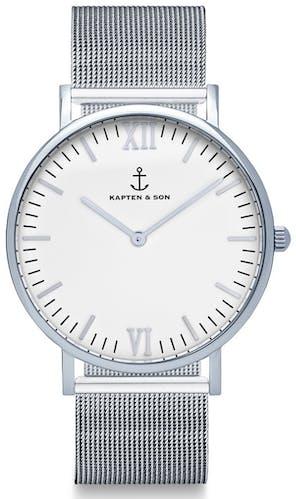 Montre KAPTEN & SON CLASSICS Mixte avec Boitier Rond 40 mm et Bracelet Acier Gris