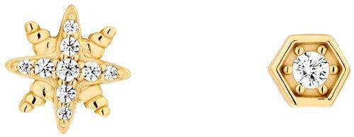 Ces Boucles d'oreilles dépareillées SOLIS sont en Argent 925/1000 Jaune et Oxyde