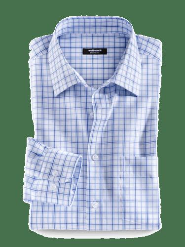 Kariertes Hemd in Blau und Weiß mit Kent-Kragen.