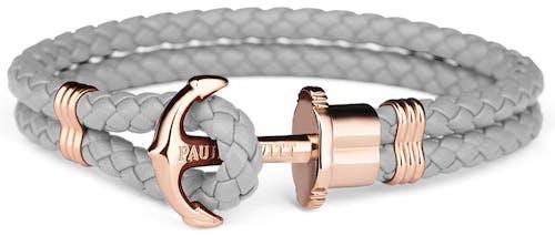 Ce Bracelet PAUL HEWITT est en Cuir Gris en forme d'Ancre