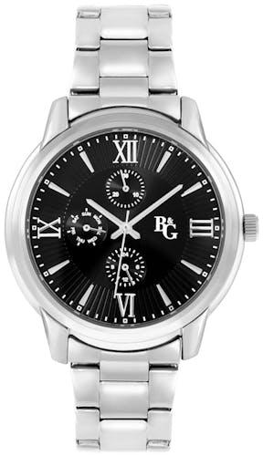 Cette montre B&G se compose d'un Boîtier Rond de 43 mm x 47.7 mm et d'un bracelet en Métal Blanc
