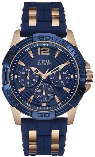 Montre GUESS Homme, Boîtier Rond Bleu, Bracelet Silicone Bleu