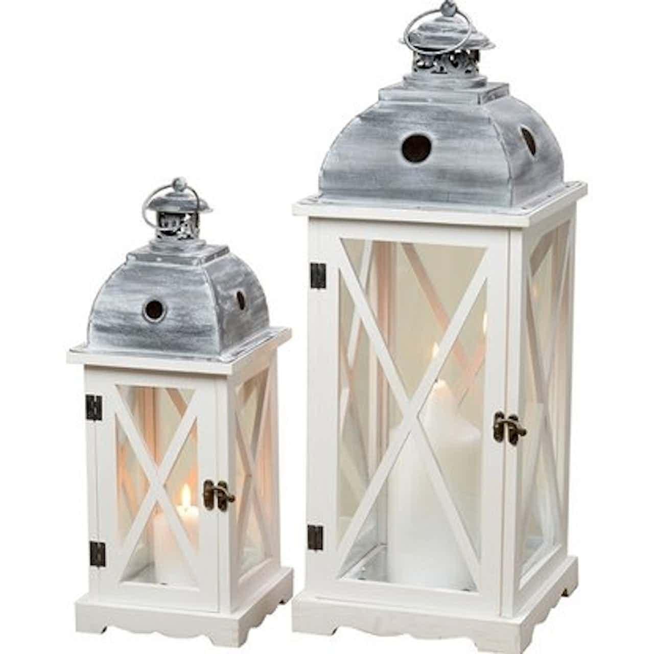 Tudor lámpás 42-60 cm szürke-fehér