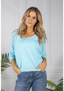 Pamela Scott Oversized Pullover Knit in Turquoise