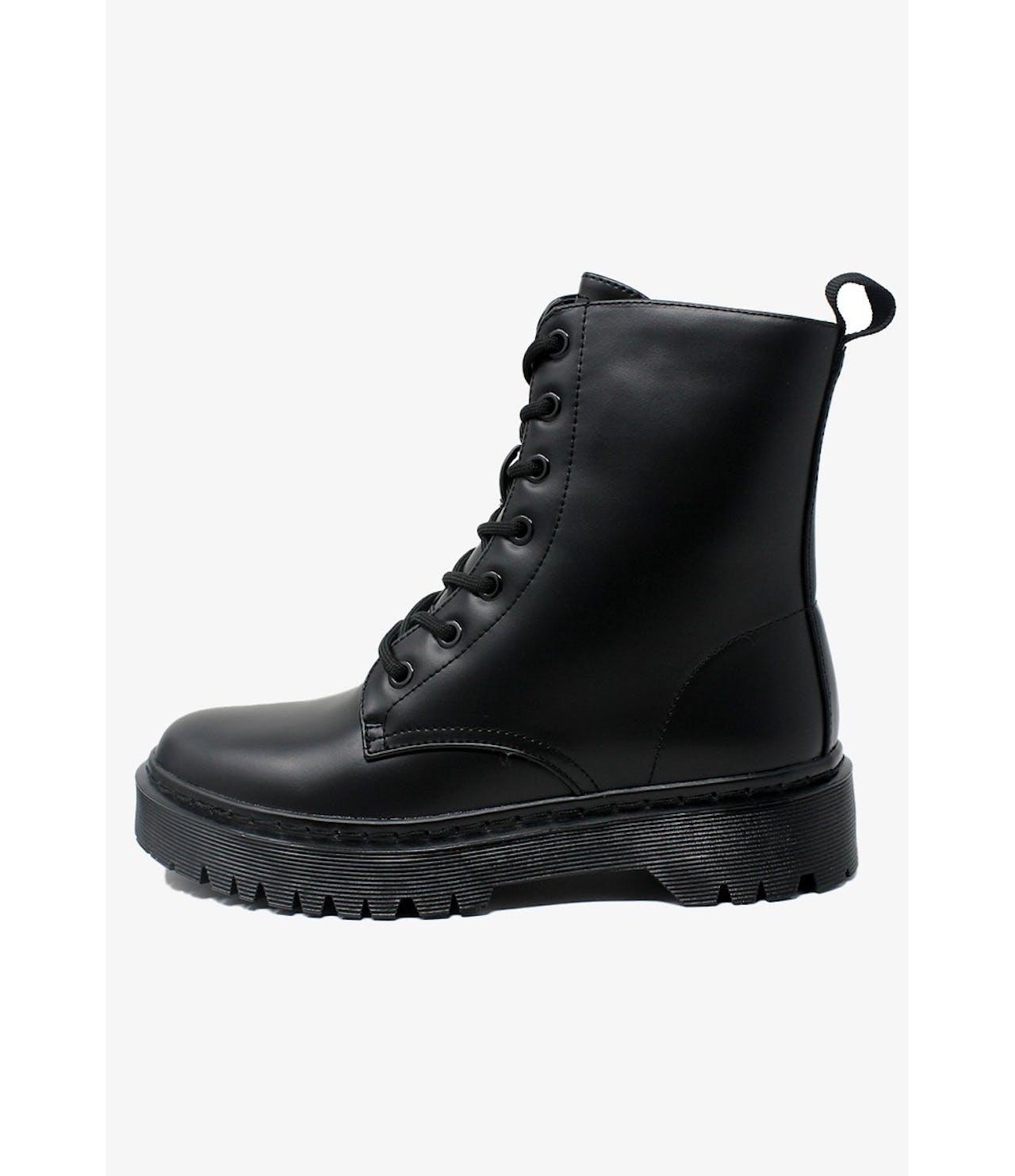 Shoe Lounge  Black Faux Leather 7 Eye Work Boot