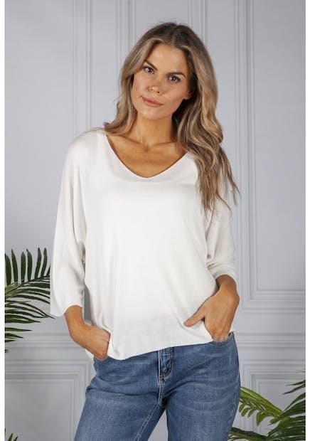 Pamela Scott Oversized Pullover Knit in White