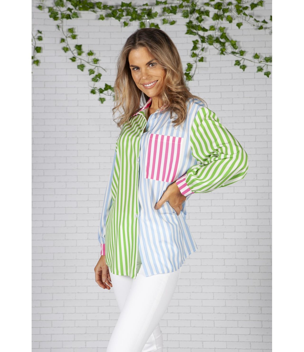 Pamela Scott Boyfriend Fit Blue Green Multi Stripe Shirt