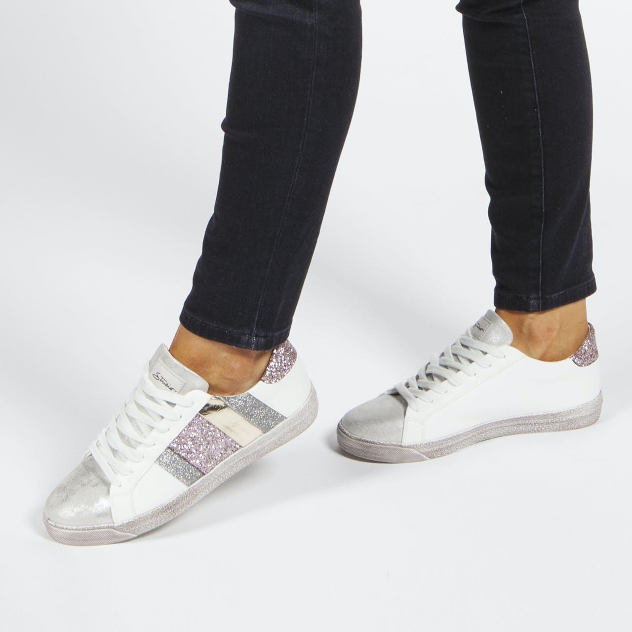 White Trainers with Pink Glitter Details