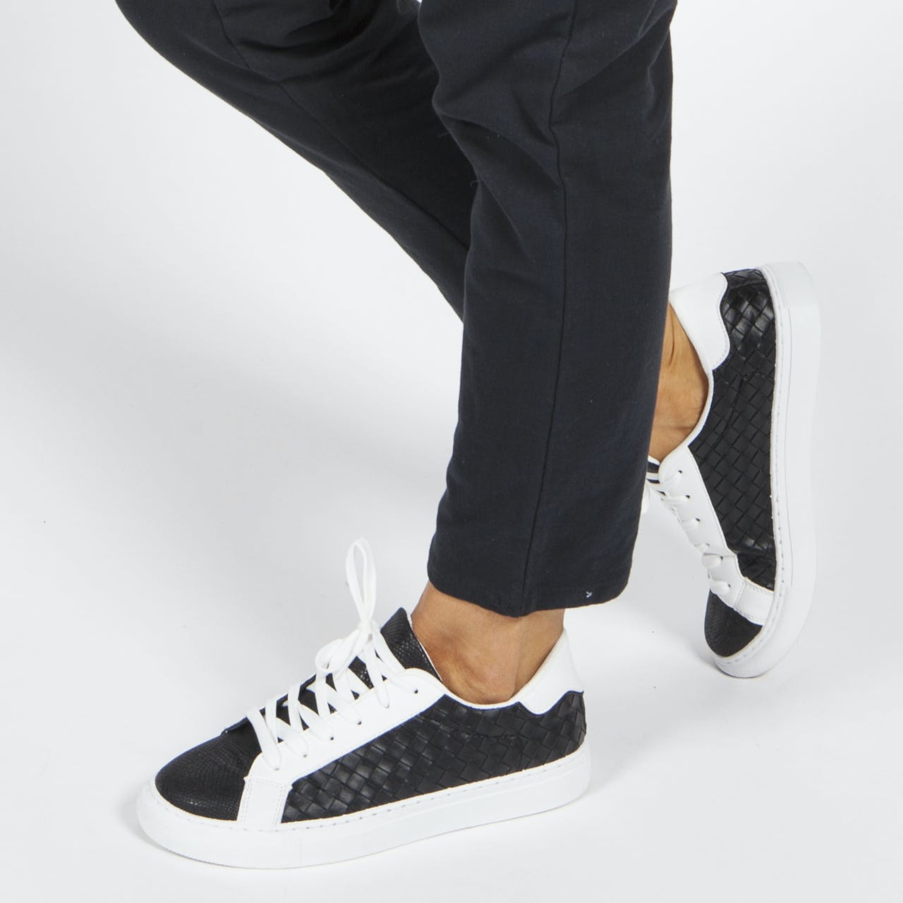 Black Faux Leather Trainers