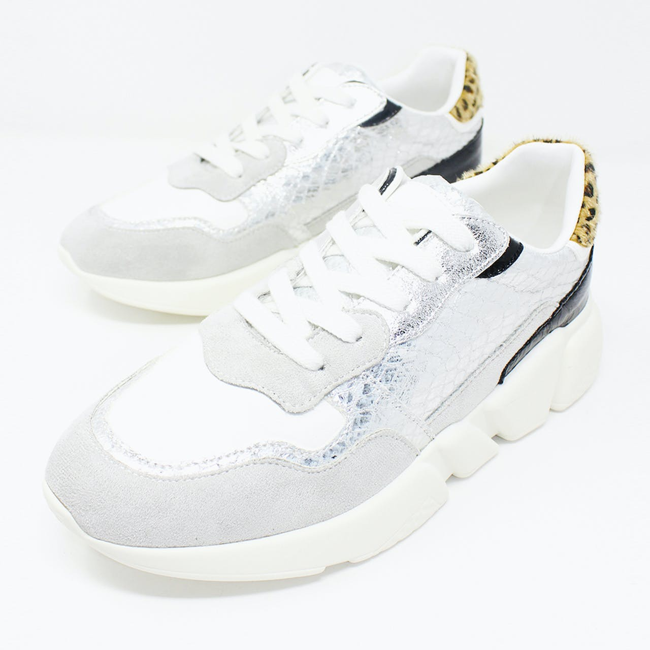SILVER SNAKESKIN TRAINER WITH CHUNKY RUBBER SOLE
