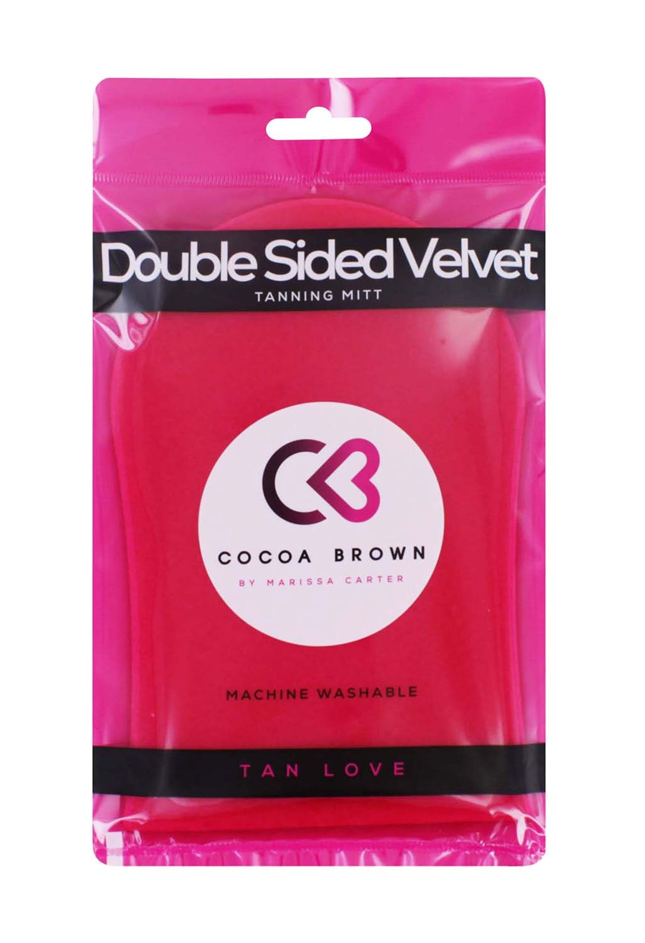 COCOA BROWN DOUBLE SIDED PINK VELVET TANNING MITT