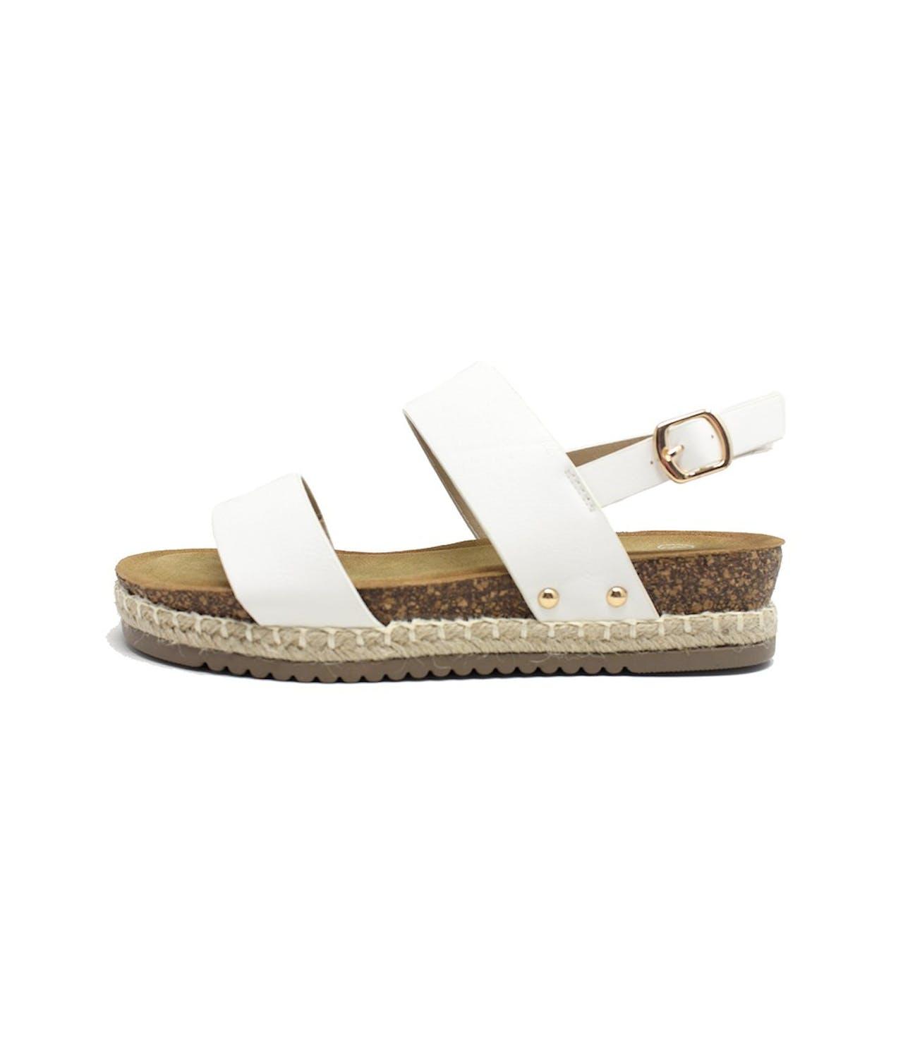 Shoe Lounge White Cork Look Wedge Sandal