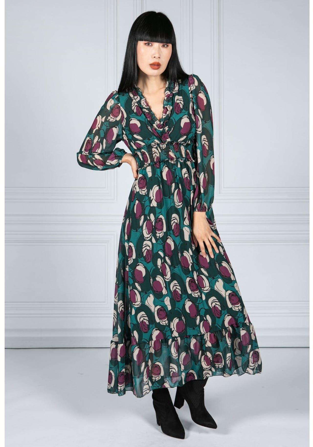 Emporium Ruffled Abstract Print Dress in Bottle Green