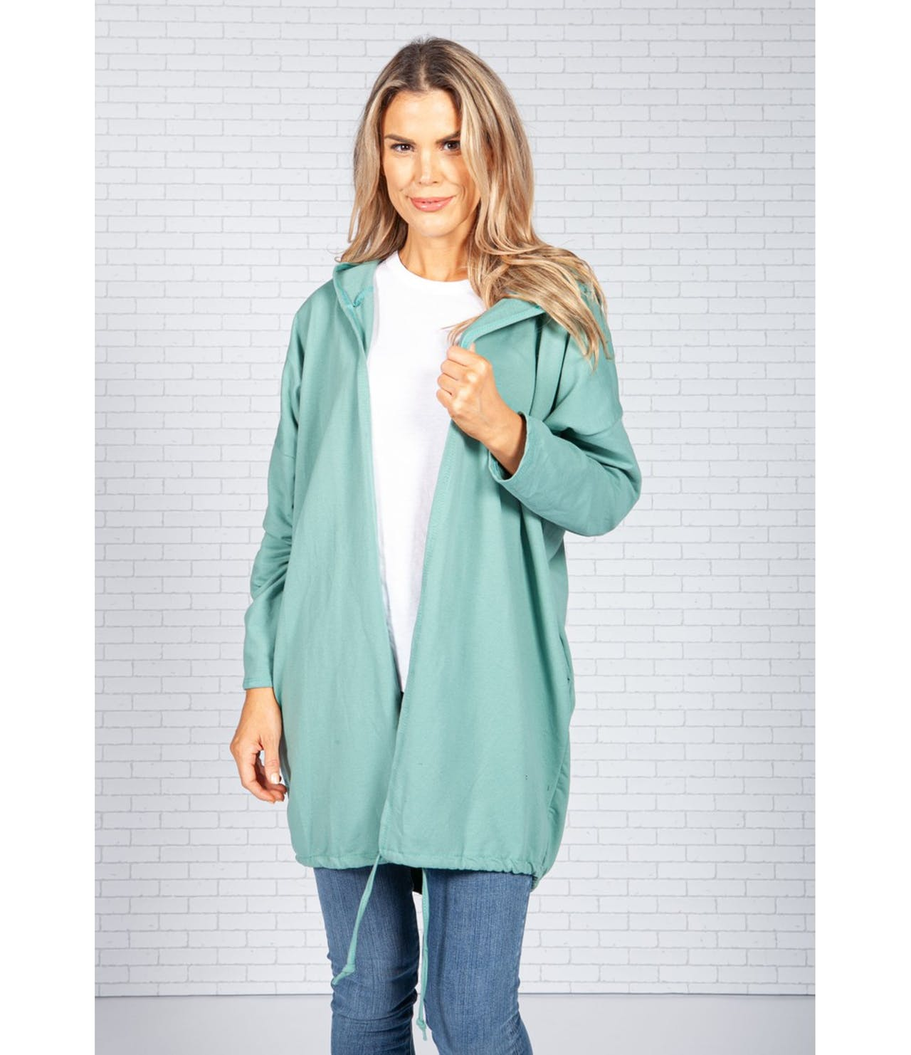 Pamela Scott Long Hoodie-Style Cardigan in Green