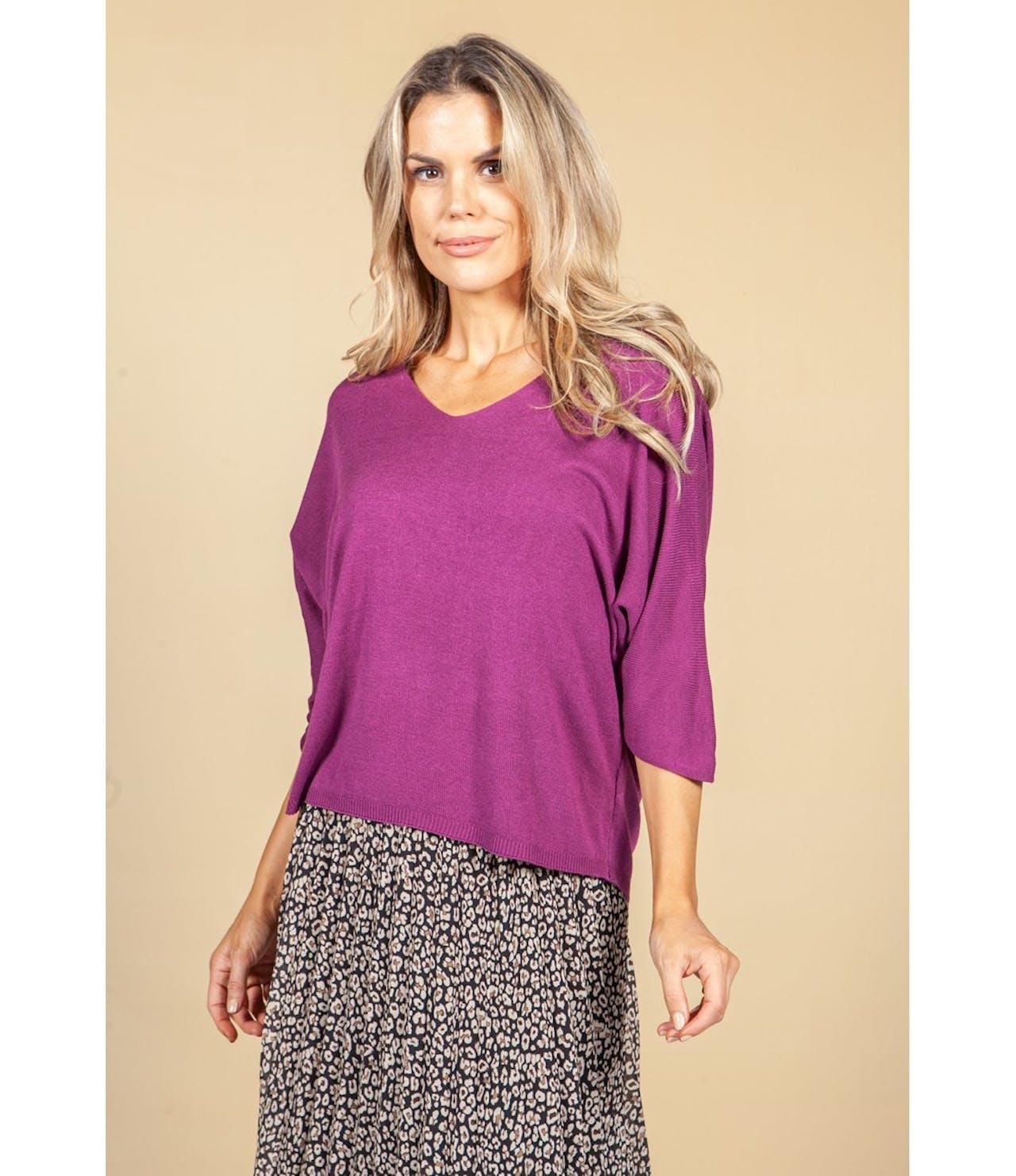 Pamela Scott Oversized Pullover in Plum