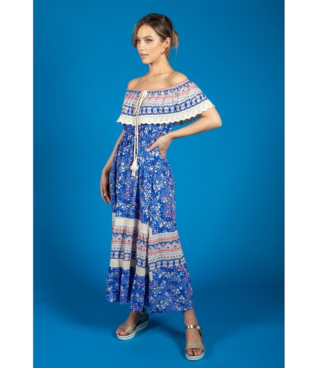 Zapara Bardot Floral Mix Dress in Royal Blue