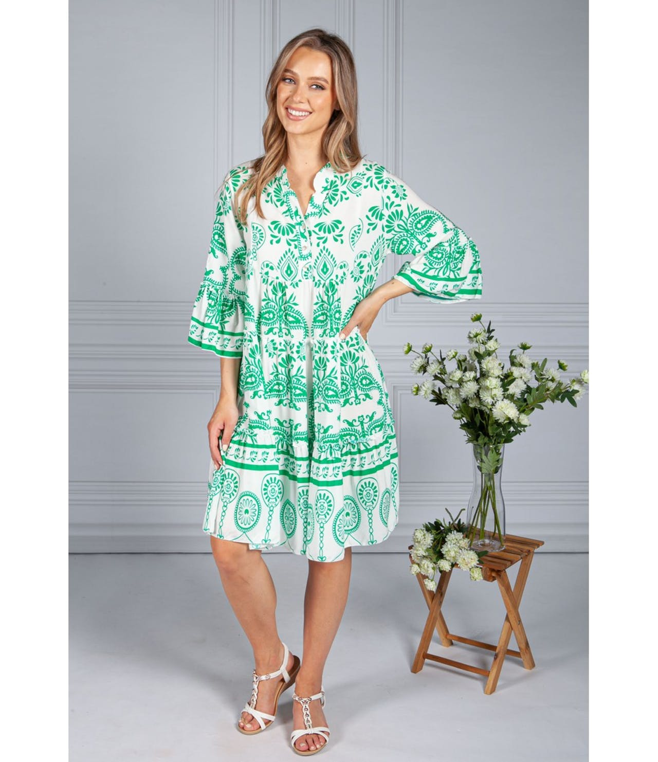Pamela Scott Green Paisley Tiered Dress