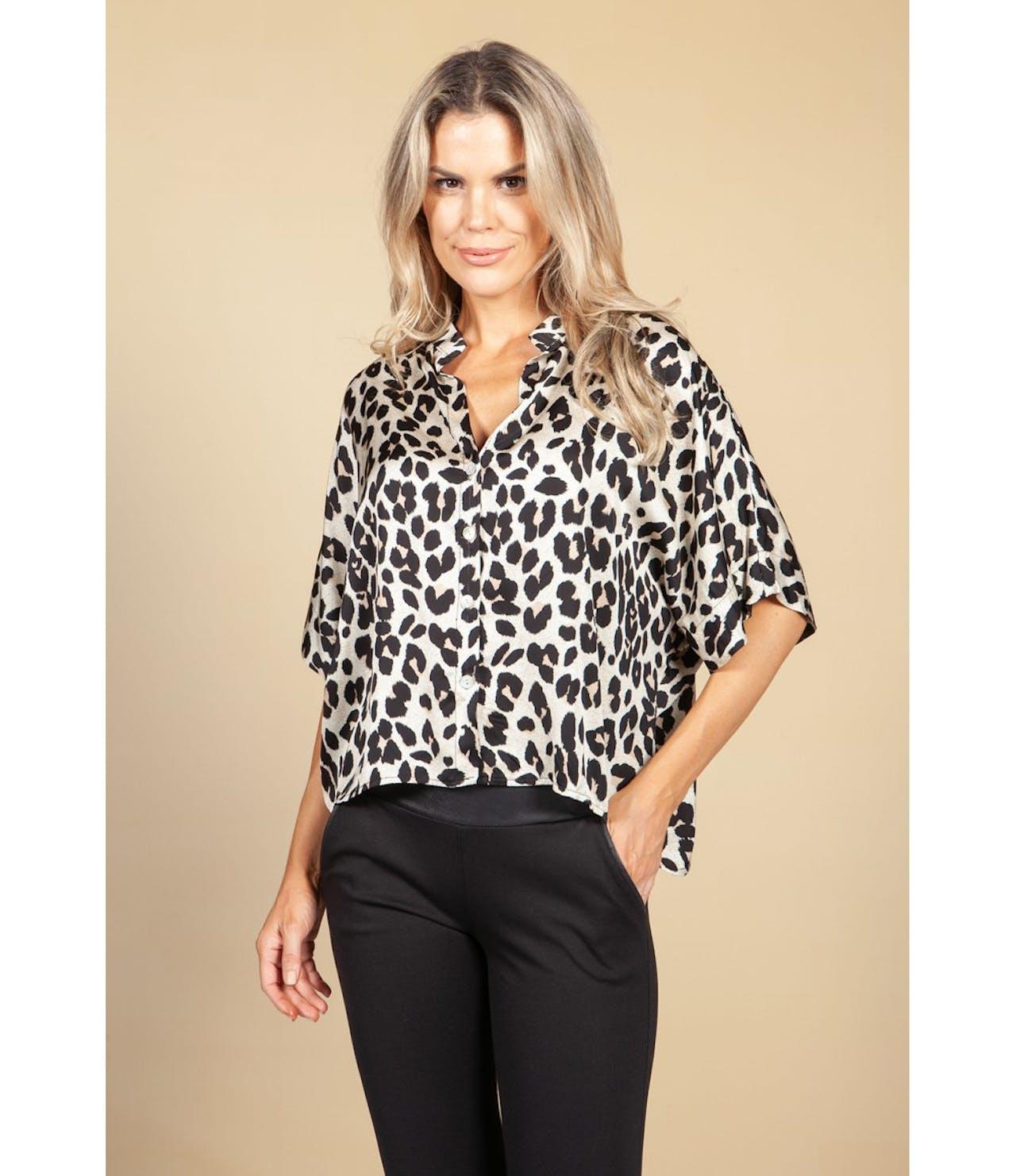 Pamela Scott Silk Feel Leopard Print Shirt