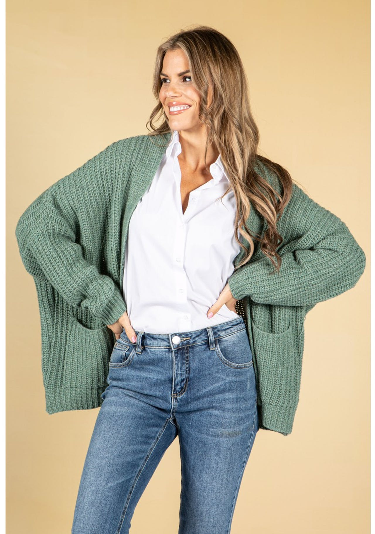 Pamela Scott Cosy Chunky Knit Cardigan in Sage