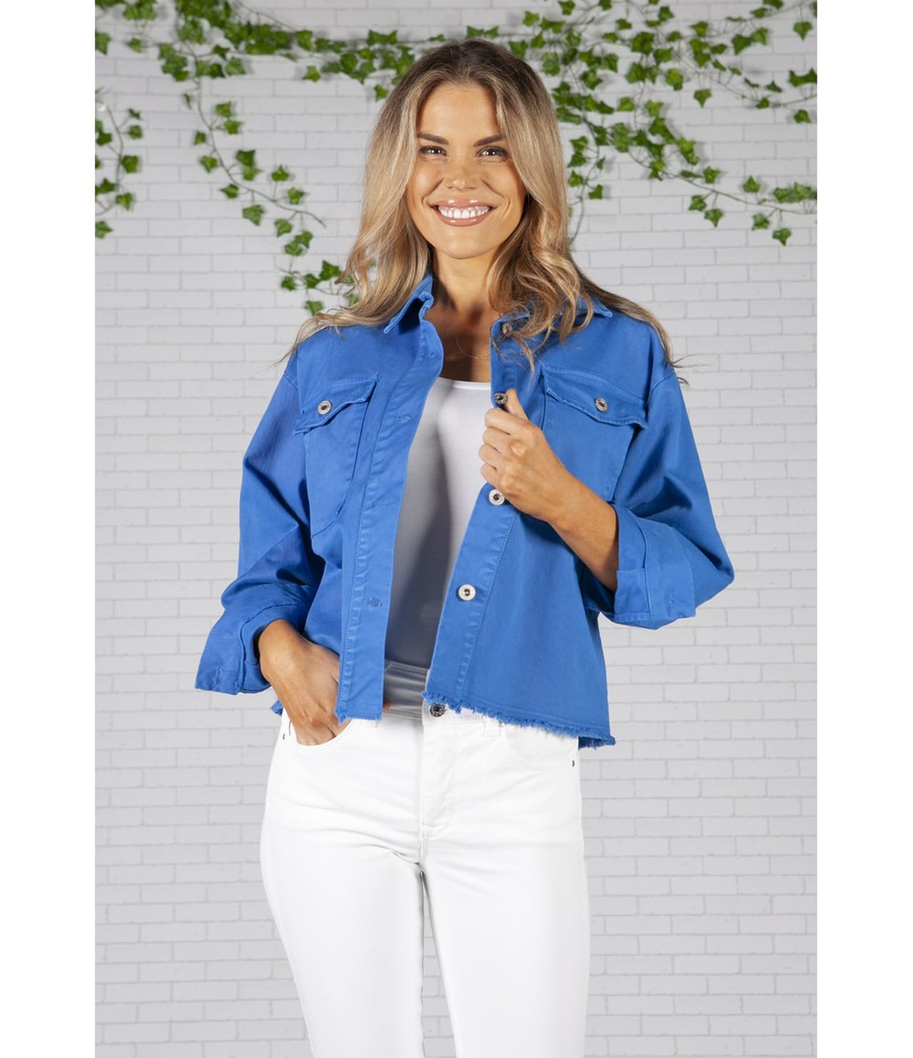 Zapara Cropped Royal Blue Denim Jacket