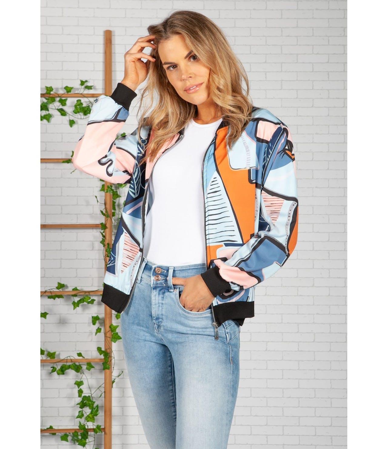 Zapara Blue Picasso Bomber Jacket
