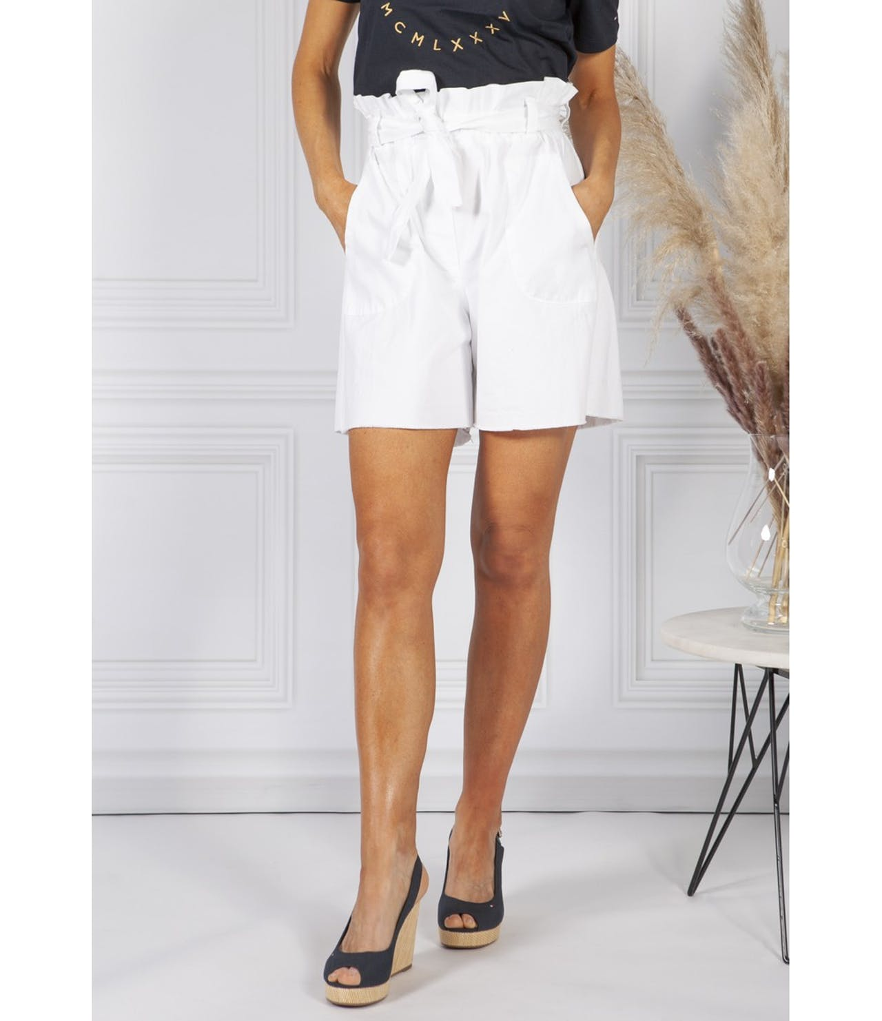 Pamela Scott White paper bag waist shorts