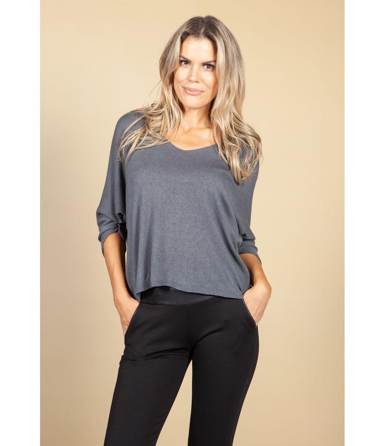 Pamela Scott Oversized Pullover Knit in Grey