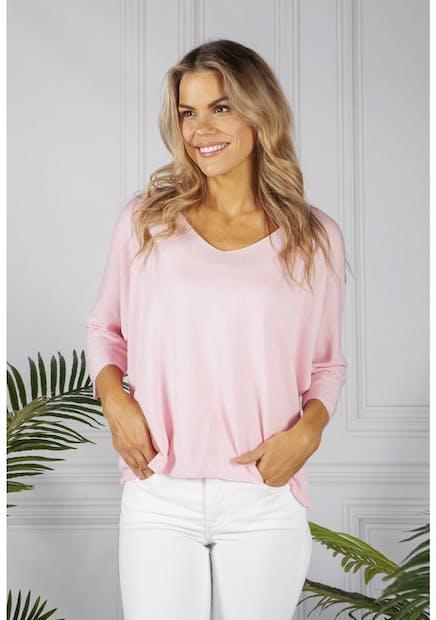 Pamela Scott Oversized Pullover Knit in Rose
