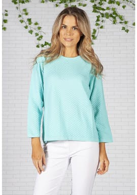 Twist Turquoise Chevron Knit Top