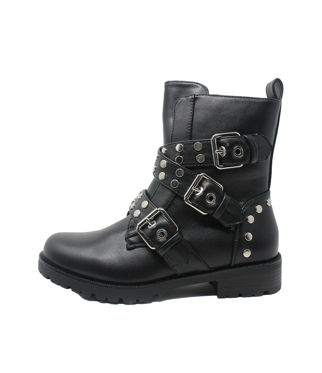 Shoe Lounge Black Faux Leather Boots with Studded Straps