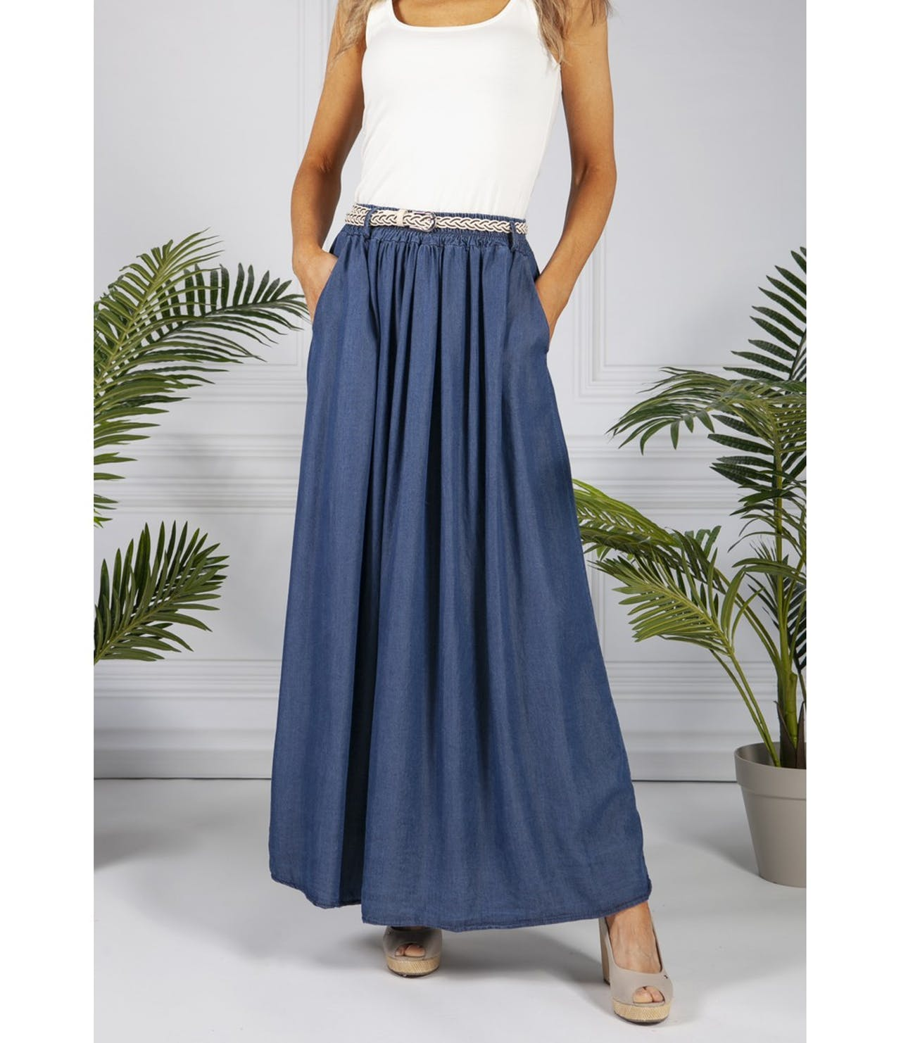 Pamela Scott Denim Blue Maxi Skirt
