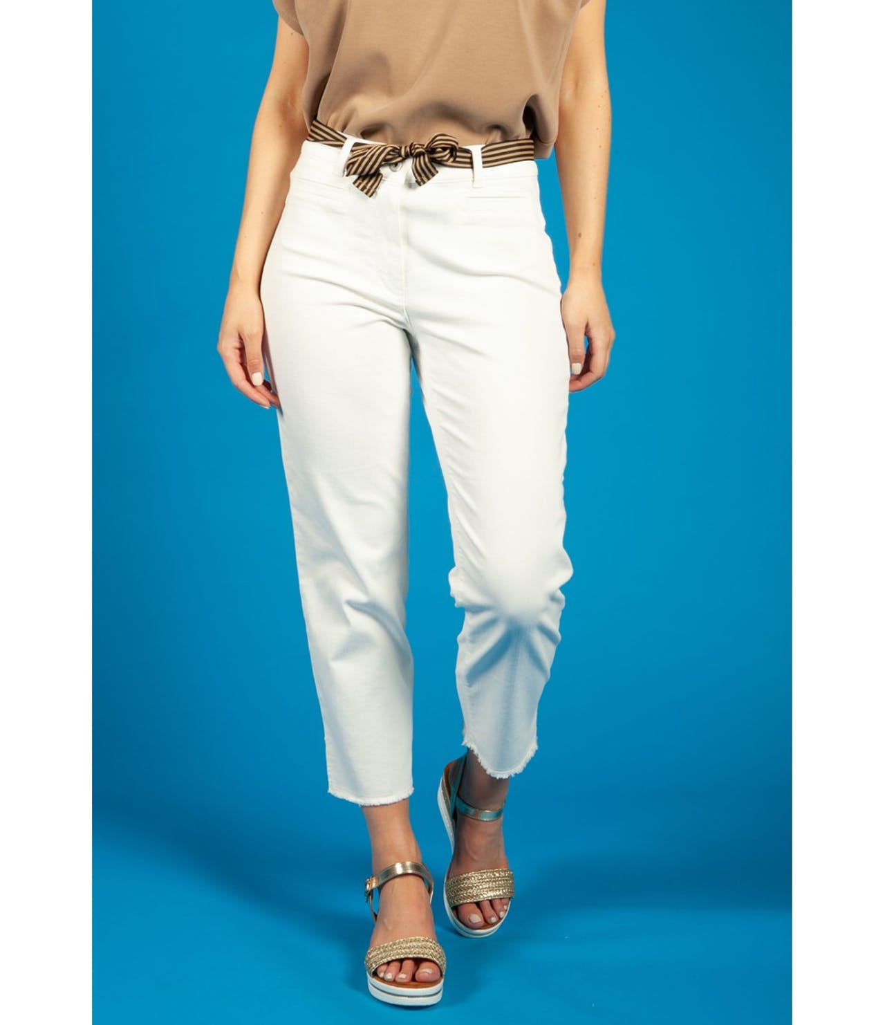 Gerry Weber CROPPED TROUSERS WITH FRAYED HEM WHITE