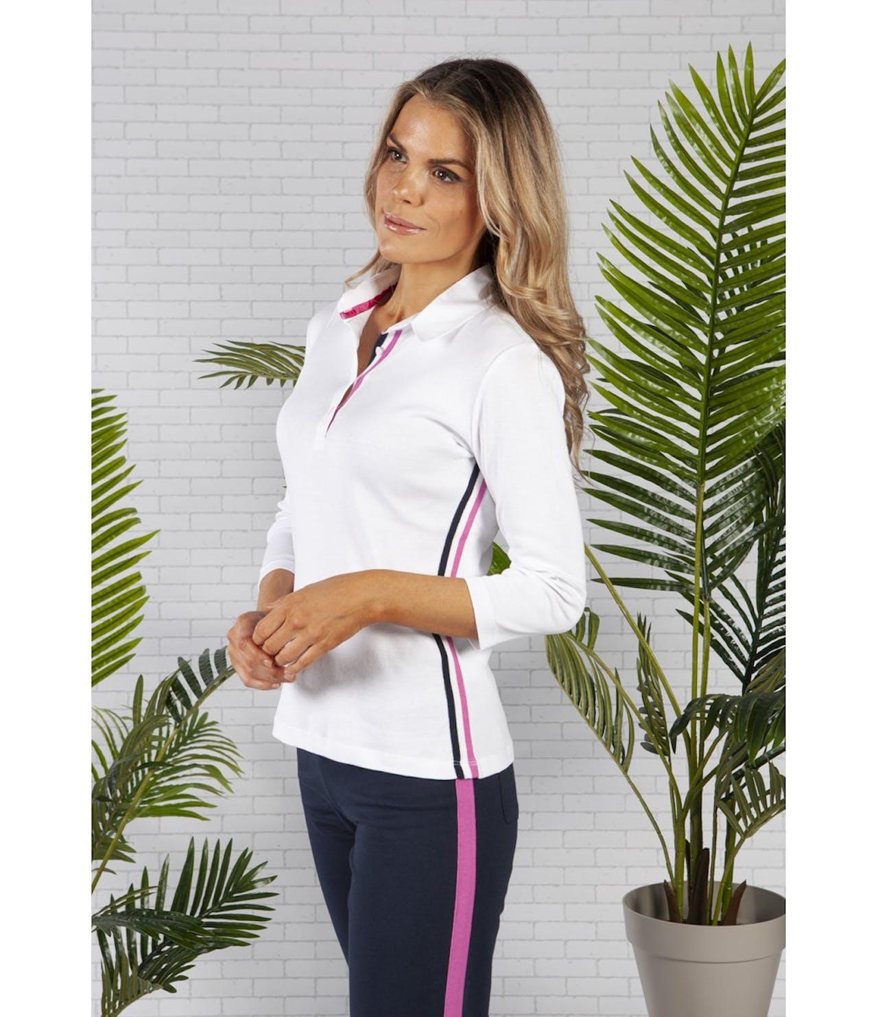 Pamela Femme White Striped Polo Shirt