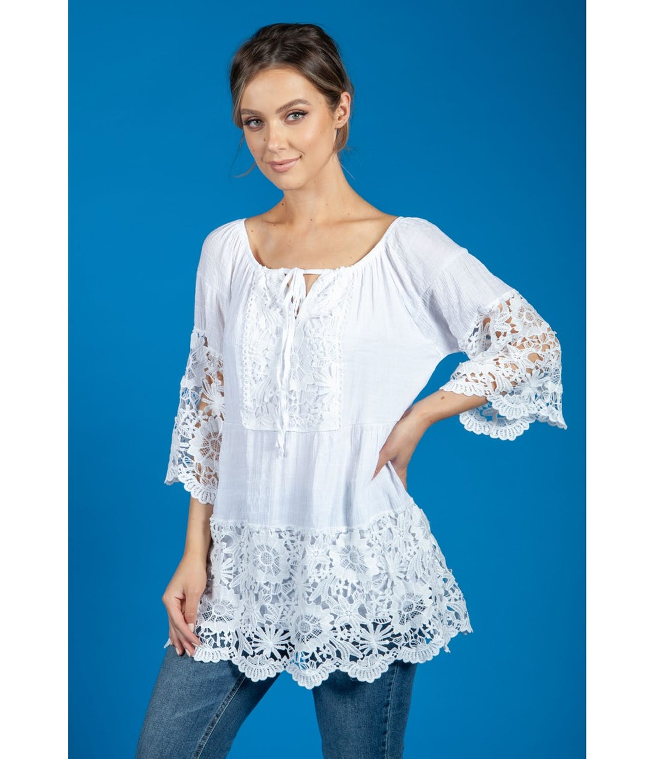 Pamela Scott Lace Panel Relaxed Fit Blouse in White