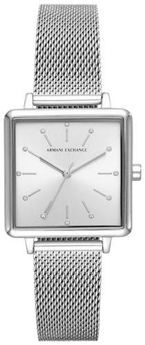 Cette montre ARMANI EXCHANGE se compose d'un boîtier Rond de 30 mm et d'un bracelet en Maille milanaise Grise