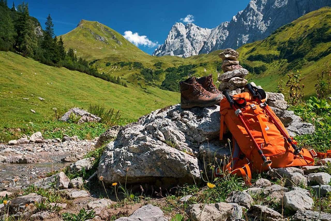Wanderrucksack in den Bergen