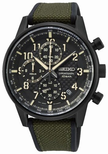 Cette Montre pour Homme SEIKO se compose d'un Boîtier Rond de 42.7 mm et d'un Bracelet en Nylon et Silicone Vert
