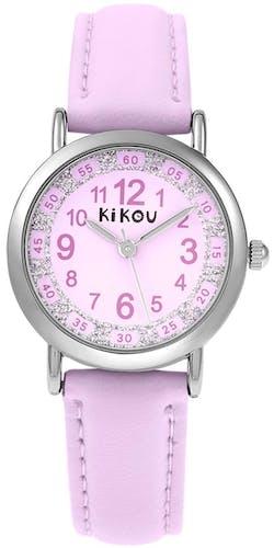 Cette montre KIKOU se compose d'un Boîtier Rond de 28.7 mm et d'un bracelet en Cuir Rose